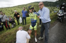 Contador broke his leg while trying to eat a nutrition bar