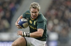Ex-Munster centre de Villiers back to lead Boks for Rugby Championship