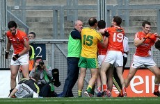 Des Cahill and Joe Brolly got into a heated exchange over the doctor push incident at Croker yesterday
