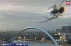 Giant spider photobombs BBC Scotland breakfast newscast