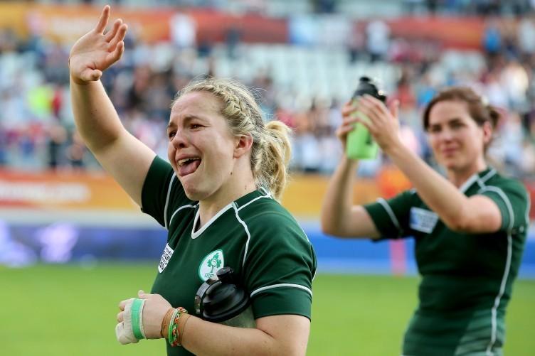 Niamh Briggs and Nora Stapleton applaud the Irish fans who made the trip to Paris.