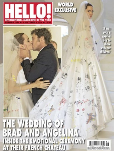 Angelina Jolie's wedding dress is covered in her kids' drawings