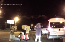 Watch Spongebob and Mickey Mouse brawl in this bizarre road rage video