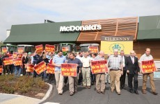 Irish farmers show their beef with factories and retailers in McDonald's protest