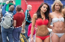 Two lads were caught sneaking a selfie at the Miss Bikini Ireland photo shoot in Dublin