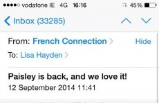 The timing of this French Connection e-mail to Irish customers is unfortunate to say the least