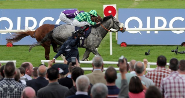 Aidan O'Brien's superstar Australia was beaten in a thriller at Leopardstown today