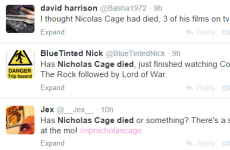Three Nicolas Cage films were on TV last night, so viewers assumed he had died