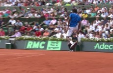 Gael Monfils hits a magical aerial tweener in the Davis Cup