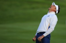 Finally! Ian Poulter delivers his first eye-bulging moment of the Ryder Cup