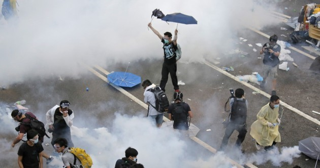 Pro-democracy protesters tear-gassed in Hong Kong