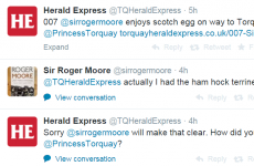 Roger Moore just corrected a local newspaper about a Scotch egg