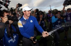 This almost never happens, I swear: Rory pops too early in Ryder Cup celebration