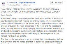 Irish hotelier pens scathing open letter to some rather exacting customers