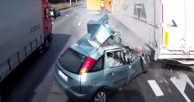 WATCH: Belgian driver survives totally unsurvivable crash with two trucks