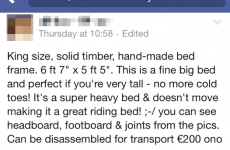 Someone is selling a 'great riding bed' on Facebook