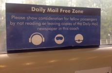 'Daily Mail Free Zone' stickers are appearing on trains around the UK