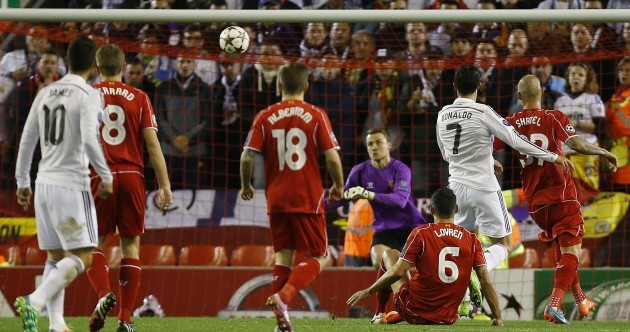 Cristiano Ronaldo scored his first Anfield goal tonight - and it was a bit special