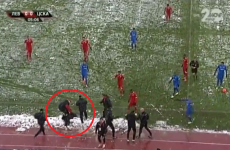 CSKA coach knocked unconscious by a snowball in Sofia derby