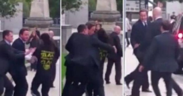 Someone shoved David Cameron while he visited Leeds today