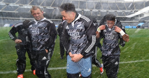 The All Blacks prepared for their game in Chicago with some American football in the snow