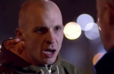 Love/Hate's Nidge gives no-nonsense team talk to the Irish rugby team in Gift Grub