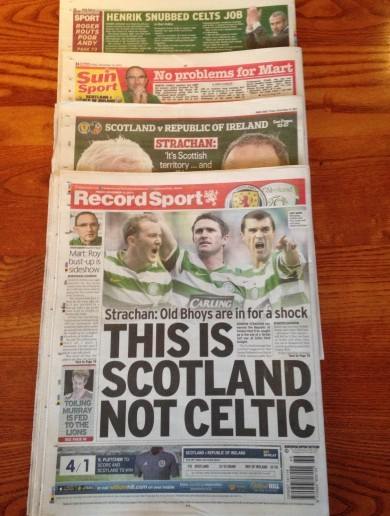 What are the Scottish media saying about tonight's Euro 2016 qualifier?