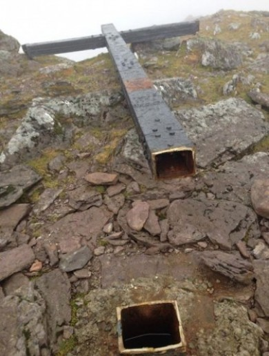 Whoever cut down the Carrauntoohil cross also stole a commemorative plaque