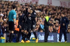 Pick that one out! Mirallas produces a moment of brilliance but it's not enough as Spurs come from behind