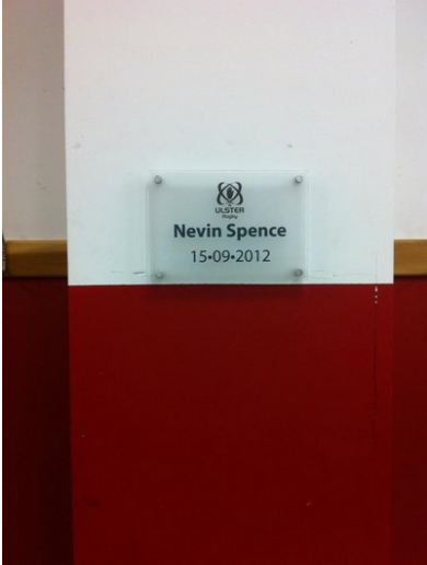 Munster paid tribute to Nevin Spence before their game with Ulster last Friday