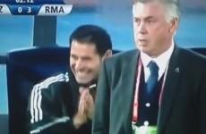 Ronaldo gets the Ancelotti death stare after failed rabona half-volley