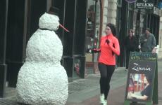 Evil snowman terrorises shoppers in cruel Christmas prank