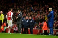 Arsene Wenger gave Olivier Giroud the death stare after he was sent off today