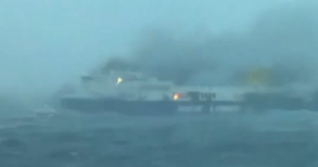One body recovered as hundreds still trapped aboard burning ferry