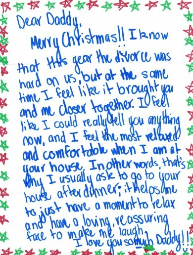 Teen girl's heartwarming Christmas letter to her divorcee dad is going viral