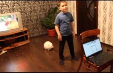 Cat can't deal with little boy's singing, so lets him know about it