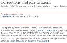 The Guardian issued this priceless correction on Jamie Oliver's recipe for toast