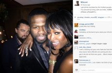 Leonardo DiCaprio very creepily photobombed 50 Cent and Naomi Campbell