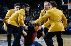 Will Ferrell hits cheerleader in the head with basketball, gets 'escorted' from stadium