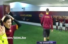 Roma mascot blown away with emotion after shaking Totti's hand
