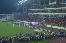 Chaotic scenes as African Cup of Nations semi-final interrupted by crowd trouble