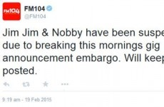 FM104 says it's suspended two presenters for breaking an Ed Sheeran embargo