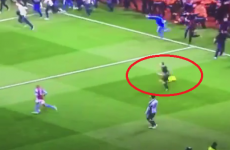 The linesman did his best Usain Bolt impression after the Villa-West Brom game yesterday