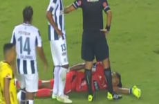 Goalkeeper pretends to be knocked unconscious to avoid sending off