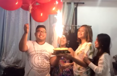 This is exactly why you should never put sparklers near balloons