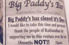 A Donegal pub owner took out this ad giving out to useless customers