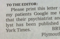 Doctor sends ingenious letter to The New York Times in bid to win new patients
