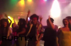 Stage collapses under students just as singer hits 'Don't Stop Believing' high note