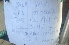 The security guards at Trinity caught a bike thief and left behind this wonderful note