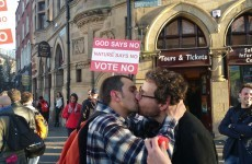 Two lads were also snapped kissing in front of that No protester in Dublin